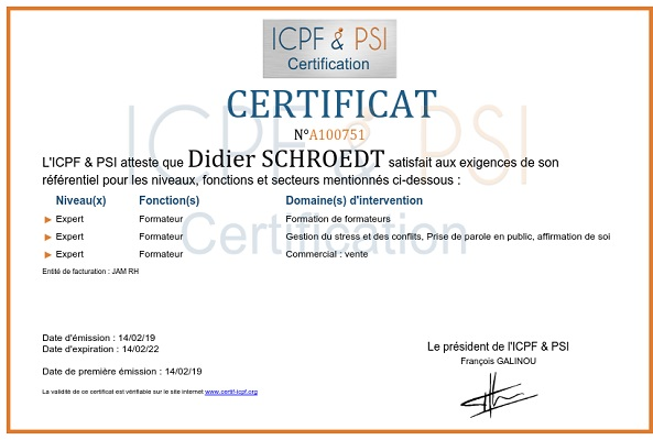 certificat Didier Schroedt